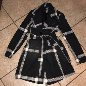 Black and white pea coat size S